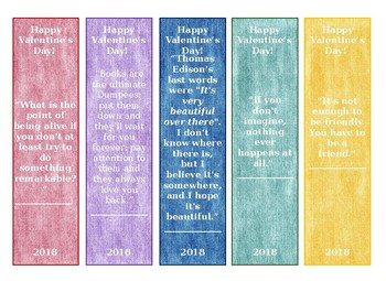 Valentine Bookmarks for Secondary Students