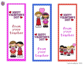 Valentine Bookmarks from the Teacher
