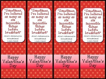 Valentine's Day Bookmarks with Quotes from Children's Books