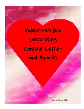 Valentine Box Contest Letter and Awards
