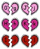 Valentine Broken Hearts ABC Matching Uppercase and Lowercase