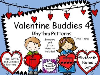 Valentine Buddies 4 {Sixteenth Notes Rhythm Pattern Fun}