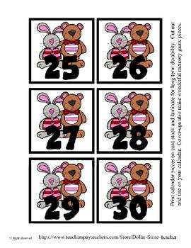 Valentine Buddies themed Calendar Cover-Ups