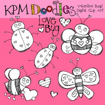 Valentine Bugs Black line CLip art