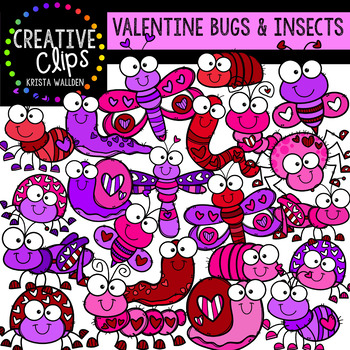 Valentine Bugs and Insects: Valentine Clipart {Creative Clips Clipart}