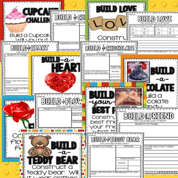 Valentine Building Challenge STEM and Writing Centers