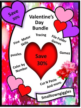 Valentine's Day Math and Literacy Bundle NO PREP/LOW Prep