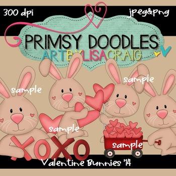 Valentine Bunnies 300 dpi clipart