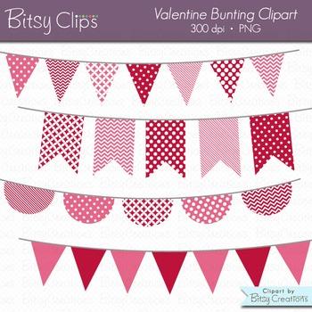 Valentine Bunting Clipart Digital Art Set Red Pink Banner Flag
