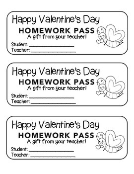"""Valentine"" Butterfly Flying - Homework Pass –Holiday FUN! (black line version)"
