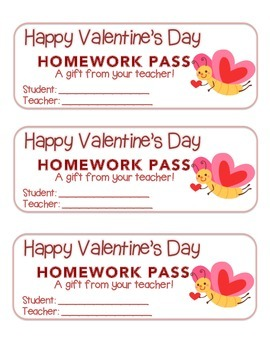 """""""Valentine"""" Butterfly Flying - Homework Pass – Holiday FUN! (color & black line)"""