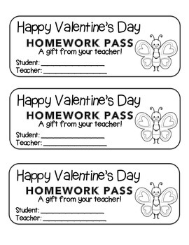 """Valentine"" Butterfly Standing - Homework Pass – FUN! (color & black line)"