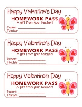 """""""Valentine"""" Butterfly Standing - Homework Pass – Holiday FUN! (full color)"""