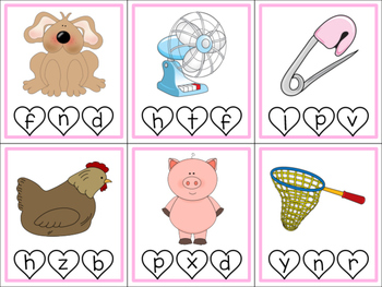 Valentine CVC Clip Cards (Beginning Sounds)