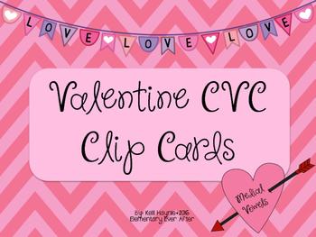 Valentine CVC Clip Cards (Medial Vowel)