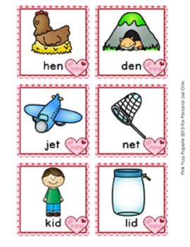 Valentine CVC Rhyming Words Match Game