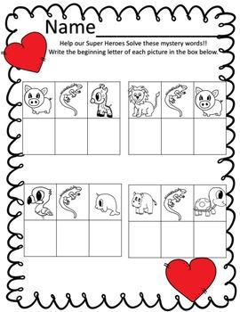Valentine CVC Spelling Mystery Phonics Game