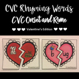 Valentine CVC Task Cards: Rhyming and Onset & Rime