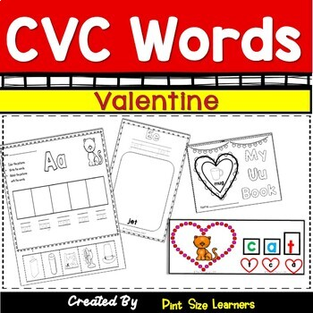 Valentine CVC Word Centers and Worksheets