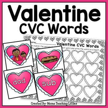 Valentine CVC Word Literacy Activity