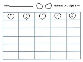 Valentine CVC Word Sort