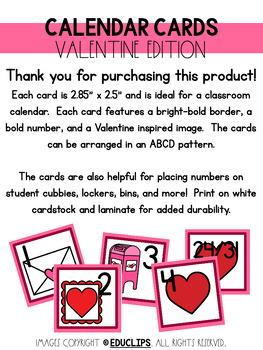Valentine Calendar Cards