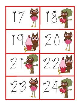 Valentine Calendar Cards - Owl theme