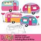 Valentine Camper Clip Art (RV Caravan Clipart)