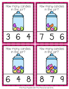Valentine Candies Count and Clip Cards Numbers 0-10