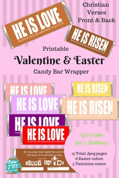 Valentine Candy Bar Wrapper, Bible Verse, Easter Candy Bar Wrapper, Gift