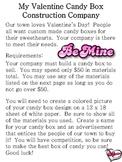 Valentine Candy Box Construction Company Activity Sheets