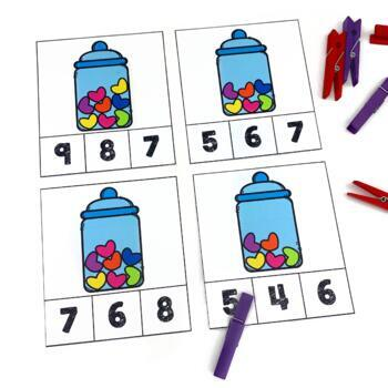 Valentines Day Math Clip Cards Counting 1-20 Math Center