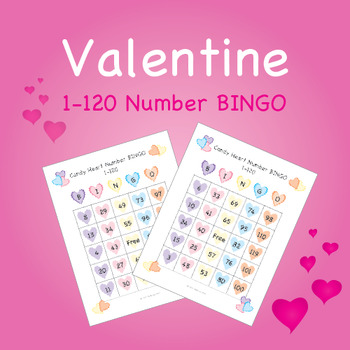 Valentine Candy Heart BINGO - Numbers 1-120