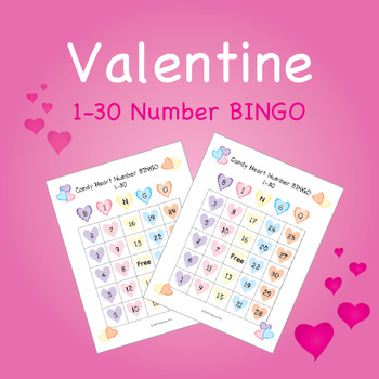 Valentine Candy Heart BINGO - Numbers 1-30