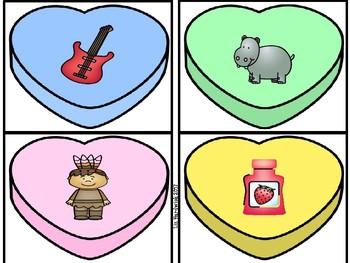 Valentine Candy Heart Beginning Sound Match