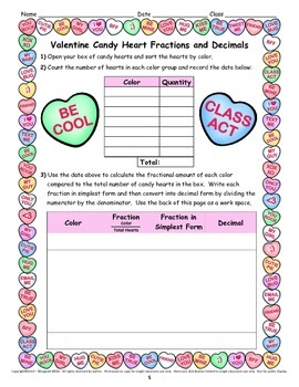 Valentine Candy Heart Math Activities for the Upper Grades