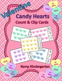 Valentine Candy Hearts Count and Clip Cards Sets to 12