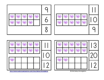 Valentine Candy Hearts Ten Frames Math Centers (Quantities of 0 to 20)