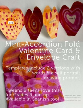 Valentines Day Craft - ENGLISH - Accordion Card & Envelope Templates