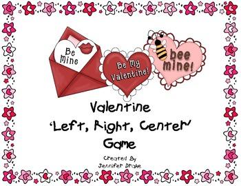 valentine card left right center game freebie by jennifer drake
