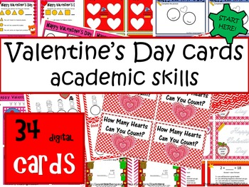 Valentine's Day Cards - 34 Full Color Academic Skills Theme