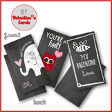 Valentine Cards for Classroom Chalkboard Owl Elephant Bumble Bee