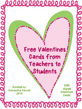Valentine Cards From Teacher Ccss Aligned Freebie Multiple Meaning