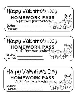 """Valentine"" Caterpillar - Homework Pass –Holiday FUN! (black line version)"