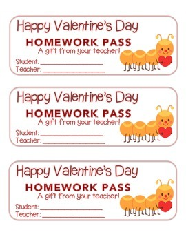 """Valentine"" Caterpillar - Homework Pass –Holiday FUN! (col"