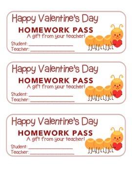 """Valentine"" Caterpillar - Homework Pass – Holiday FUN! (fu"