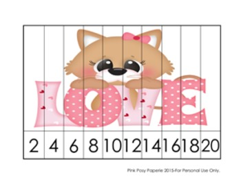 Valentine Cats Number Counting Strip Puzzles - 5 Designs - Skip by 2