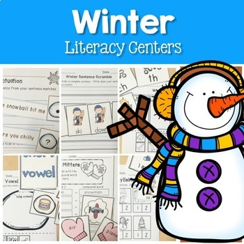 Winter Math and Literacy Centers Bundle