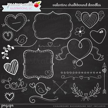Valentine Chalk Doodles Cute Digital Clipart, Valentine Graphics