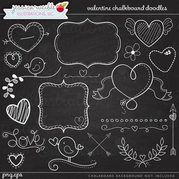 Valentine Chalk Doodles Cute Digital Clipart, Valentine Graphics